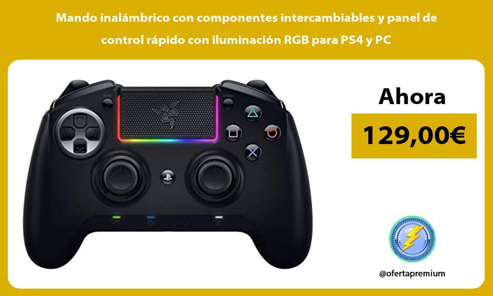 Mando inalámbrico con componentes intercambiables y panel de control rápido con iluminación RGB para PS4 y PC