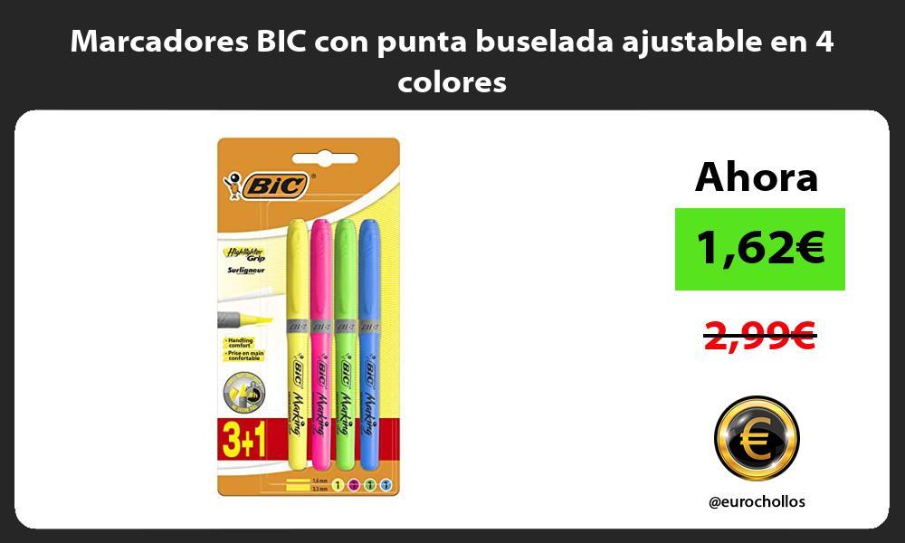 Marcadores BIC con punta buselada ajustable en 4 colores