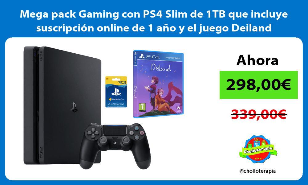 Mega pack Gaming con PS4 Slim de 1TB que incluye suscripción online de 1 año y el juego Deiland