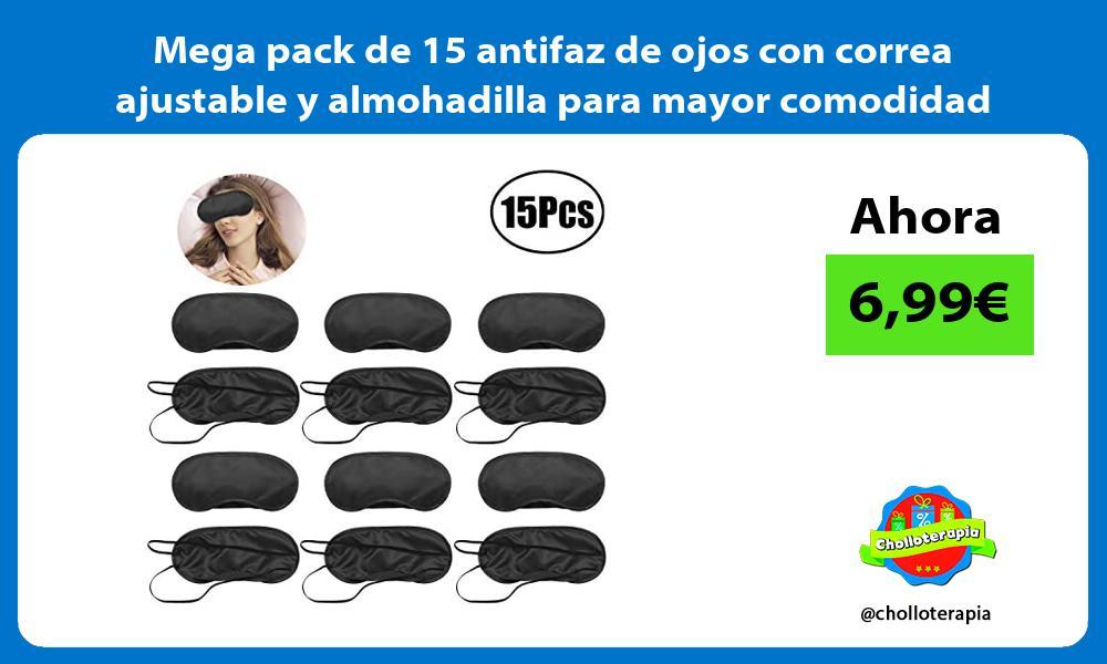 Mega pack de 15 antifaz de ojos con correa ajustable y almohadilla para mayor comodidad
