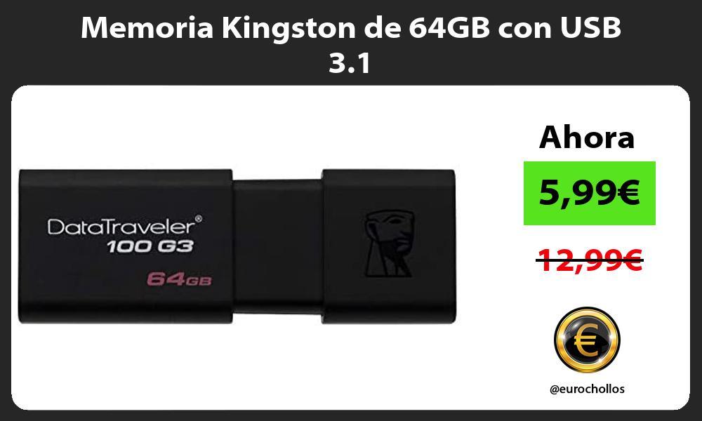 Memoria Kingston de 64GB con USB 3 1