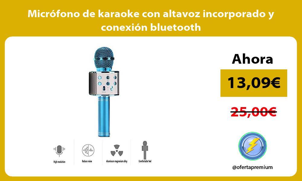 Micrófono de karaoke con altavoz incorporado y conexión bluetooth