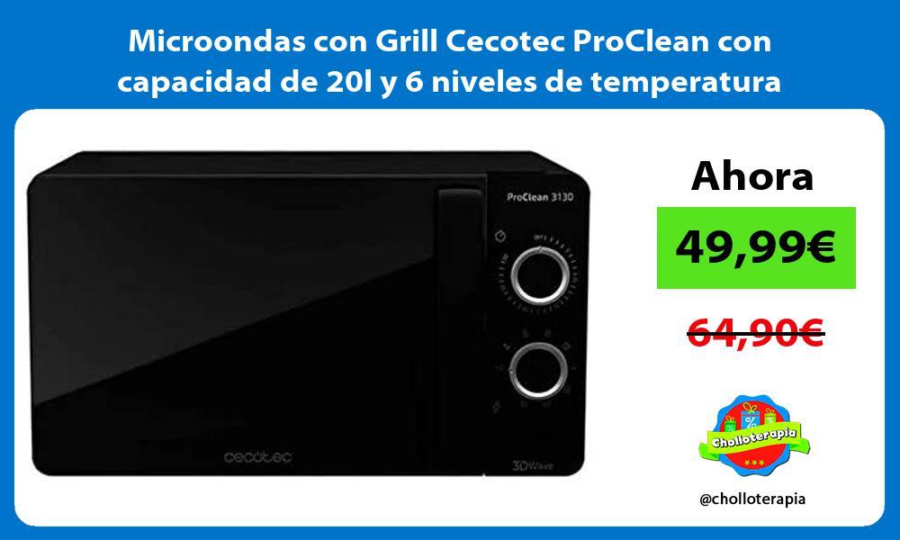 Microondas con Grill Cecotec ProClean con capacidad de 20l y 6 niveles de temperatura