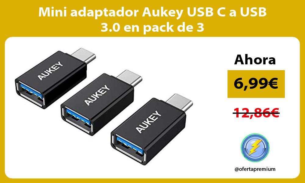Mini adaptador Aukey USB C a USB 3 0 en pack de 3