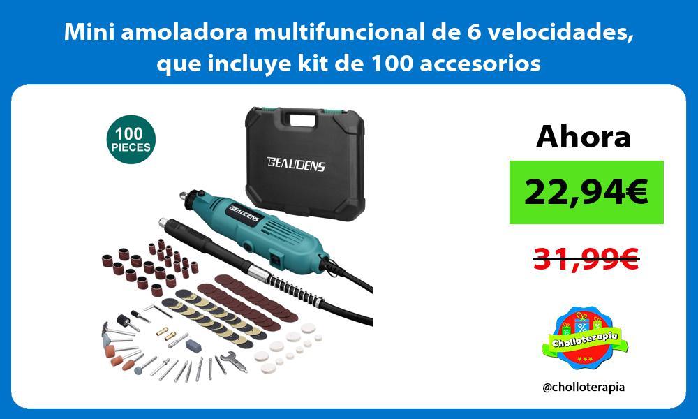 Mini amoladora multifuncional de 6 velocidades que incluye kit de 100 accesorios