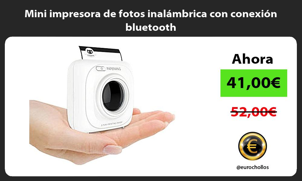 Mini impresora de fotos inalámbrica con conexión bluetooth