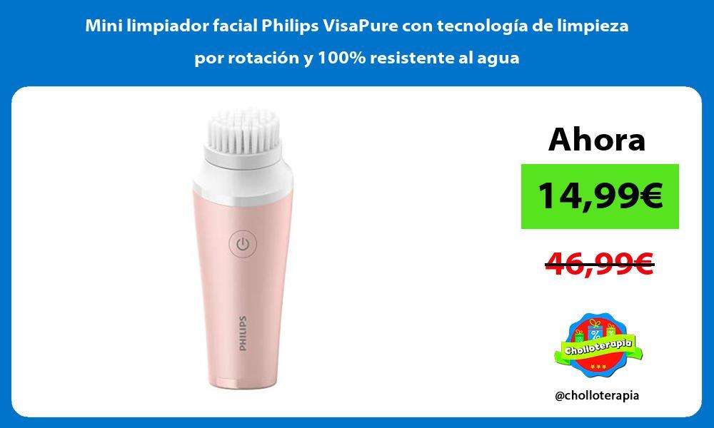 Mini limpiador facial Philips VisaPure con tecnología de limpieza por rotación y 100 resistente al agua