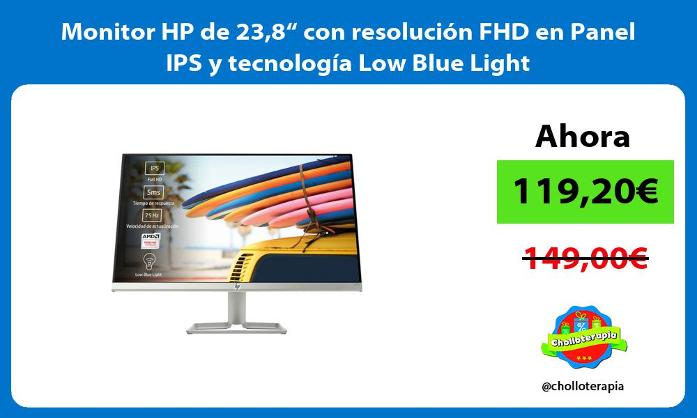 """Monitor HP de 238"""" con resolución FHD en Panel IPS y tecnología Low Blue Light"""