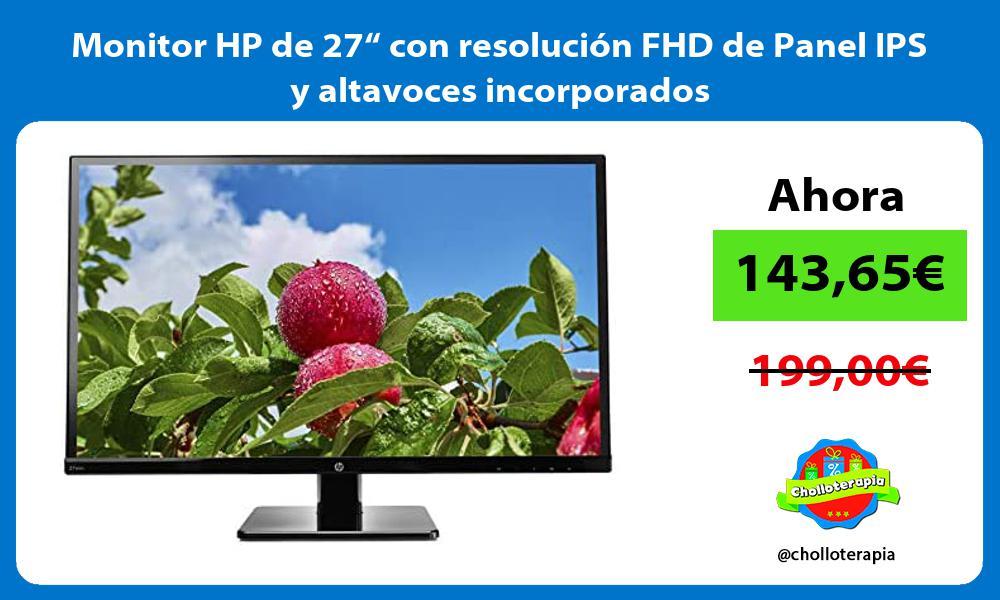 """Monitor HP de 27"""" con resolución FHD de Panel IPS y altavoces incorporados"""