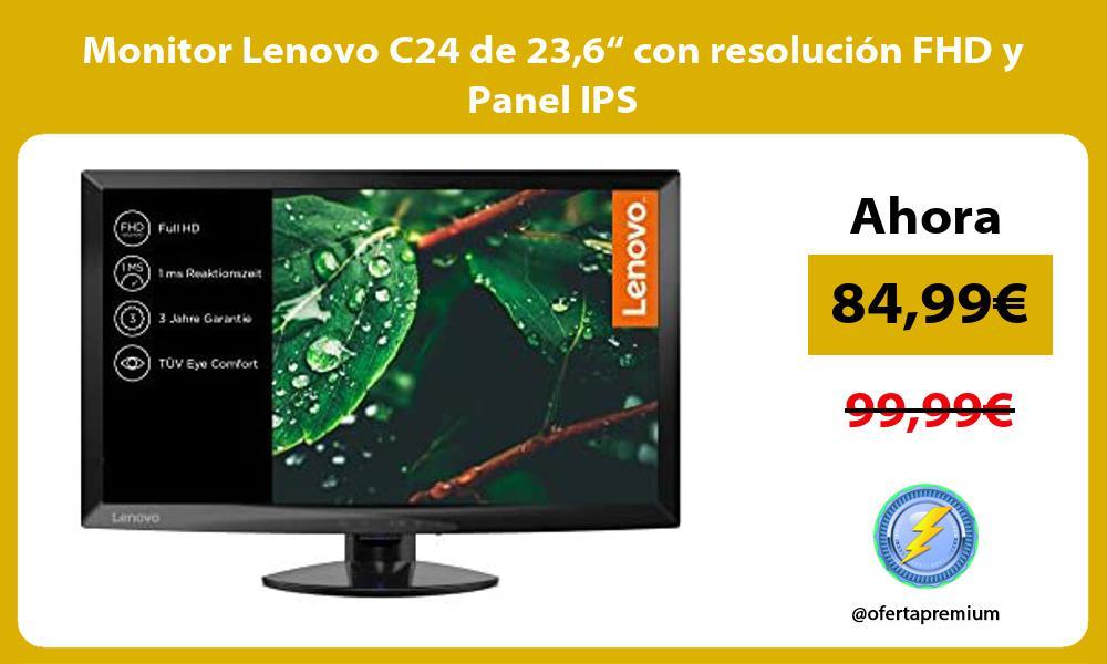 "Monitor Lenovo C24 de 236"" con resolución FHD y Panel IPS"