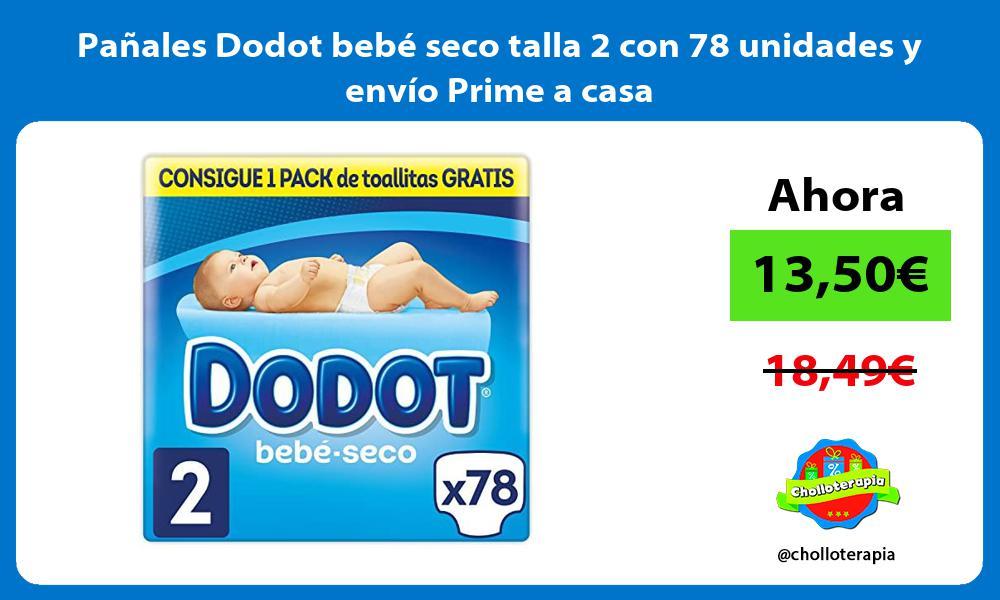 Pañales Dodot bebé seco talla 2 con 78 unidades y envío Prime a casa