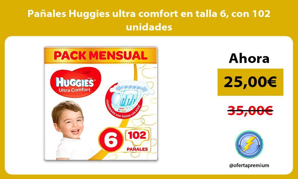 Pañales Huggies ultra comfort en talla 6 con 102 unidades