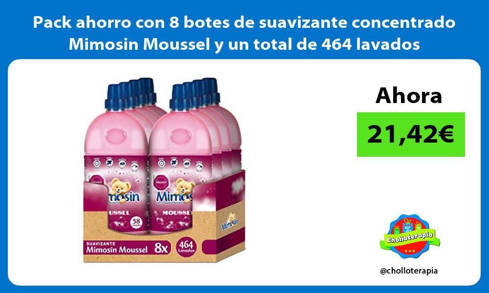 Pack ahorro con 8 botes de suavizante concentrado Mimosin Moussel y un total de 464 lavados