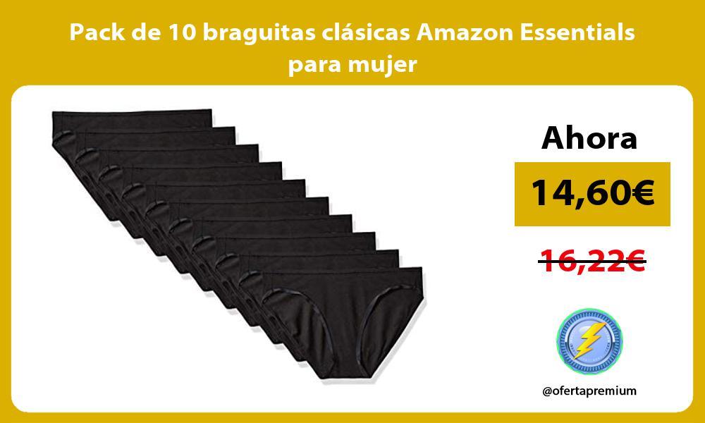 Pack de 10 braguitas clásicas Amazon Essentials para mujer