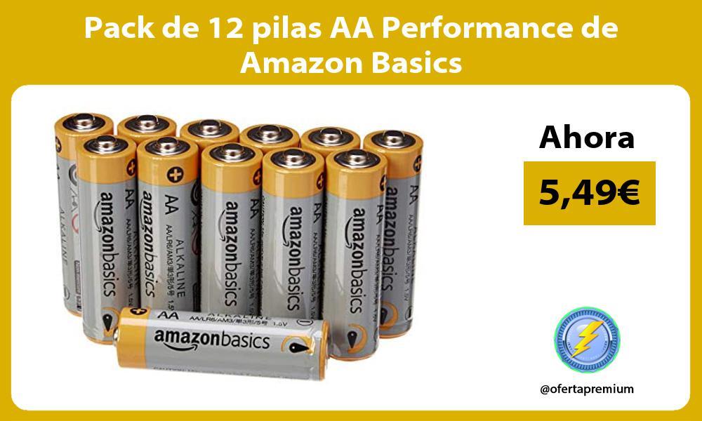 Pack de 12 pilas AA Performance de Amazon Basics