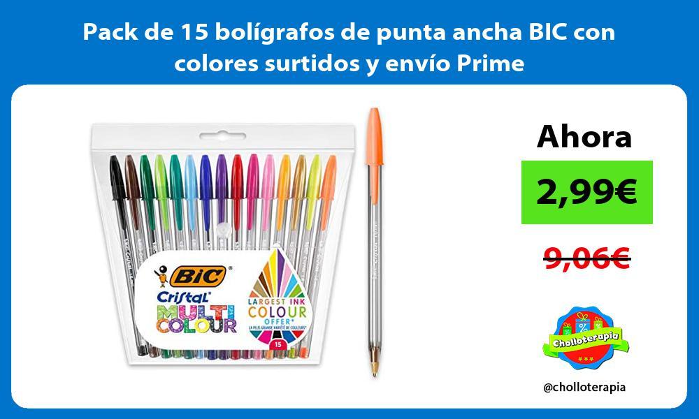 Pack de 15 bolígrafos de punta ancha BIC con colores surtidos y envío Prime