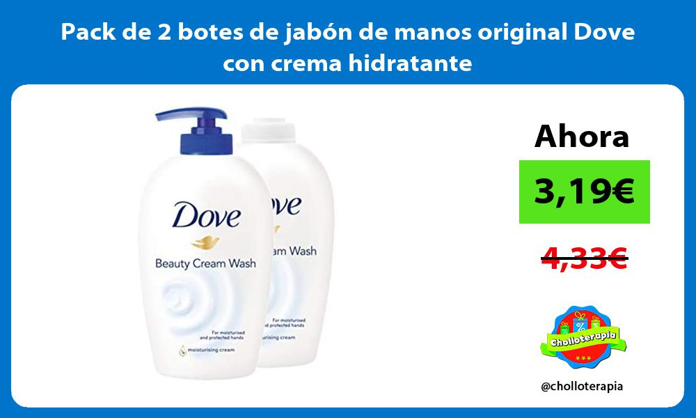 Pack de 2 botes de jabón de manos original Dove con crema hidratante