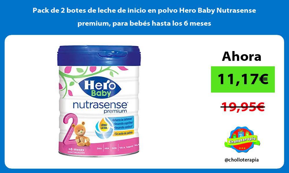 Pack de 2 botes de leche de inicio en polvo Hero Baby Nutrasense premium para bebés hasta los 6 meses