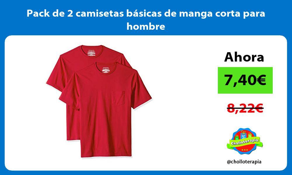 Pack de 2 camisetas básicas de manga corta para hombre