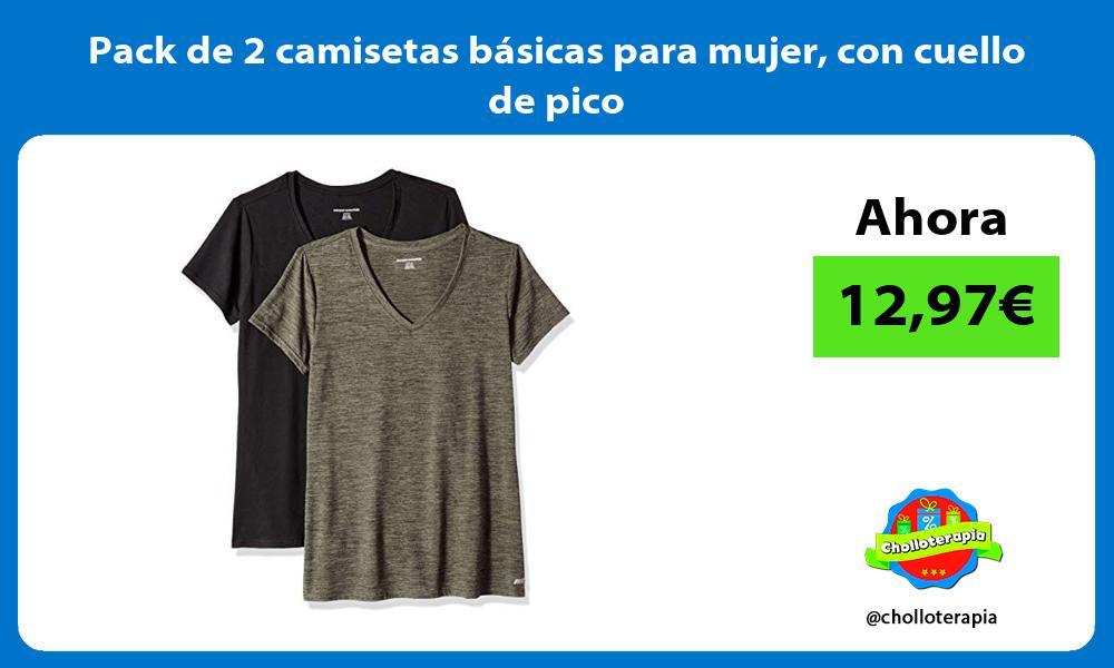 Pack de 2 camisetas básicas para mujer con cuello de pico