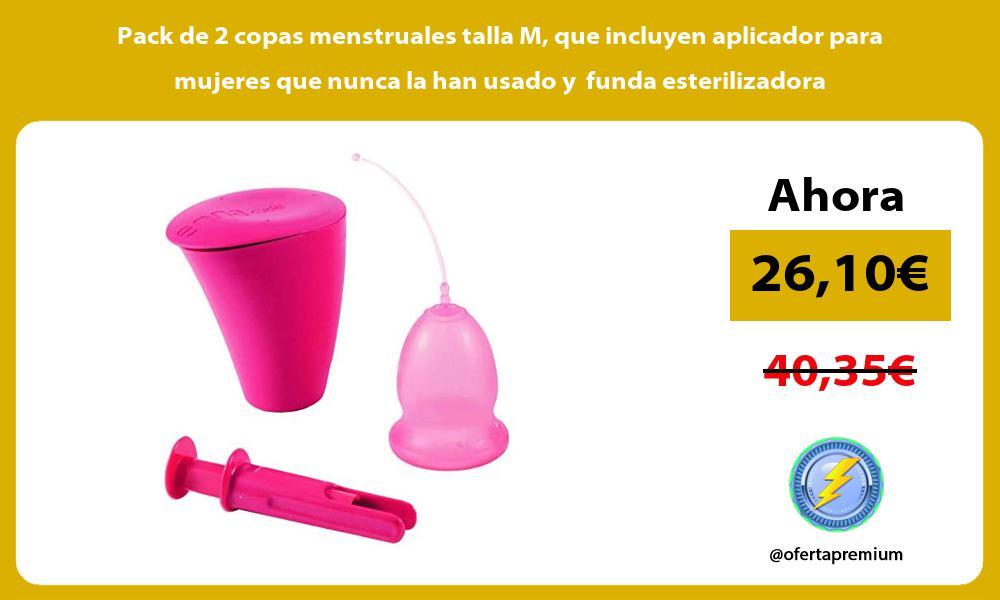 Pack de 2 copas menstruales talla M que incluyen aplicador para mujeres que nunca la han usado y funda esterilizadora