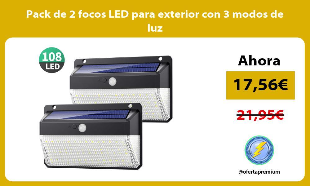 Pack de 2 focos LED para exterior con 3 modos de luz