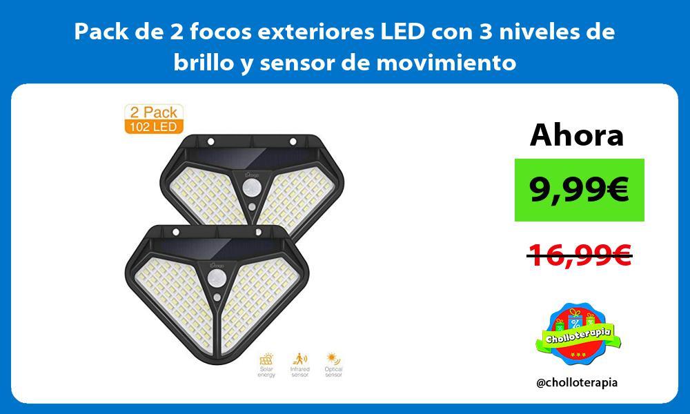 Pack de 2 focos exteriores LED con 3 niveles de brillo y sensor de movimiento