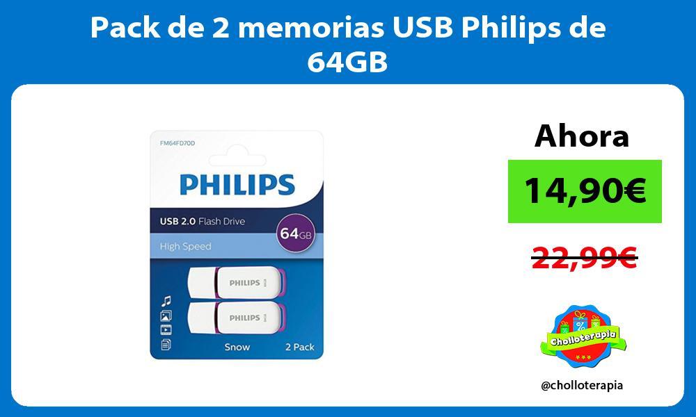 Pack de 2 memorias USB Philips de 64GB