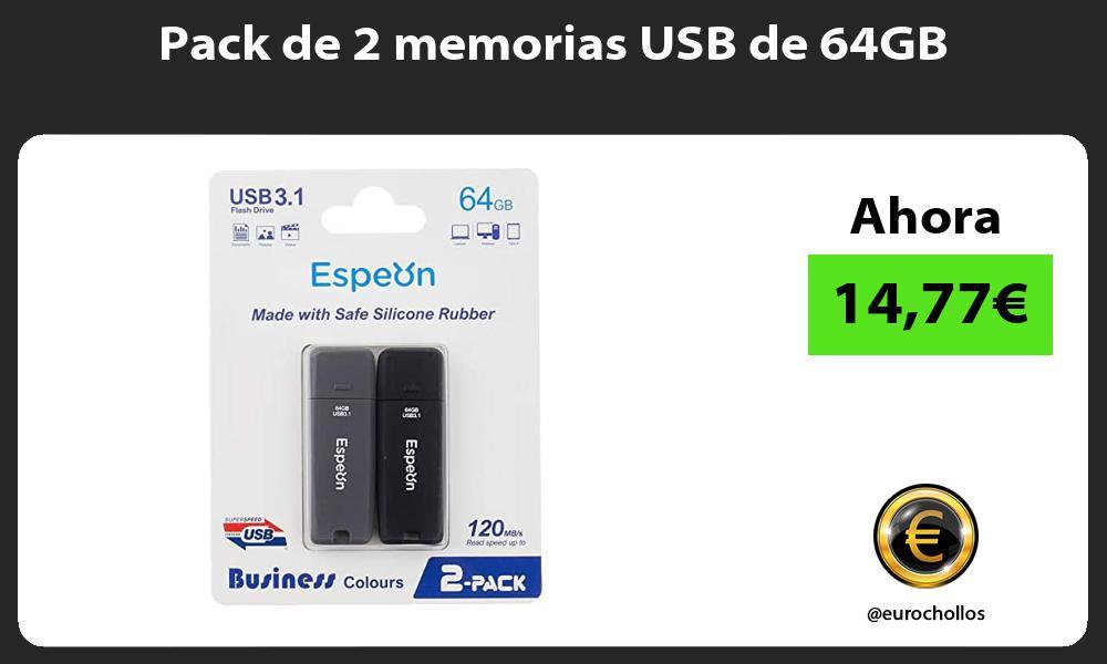 Pack de 2 memorias USB de 64GB