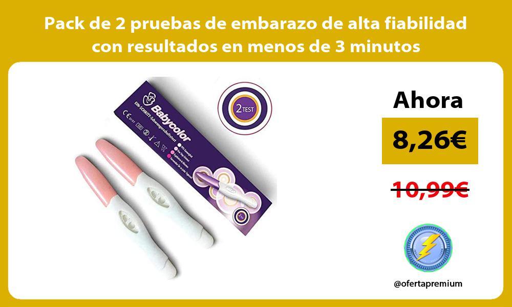 Pack de 2 pruebas de embarazo de alta fiabilidad con resultados en menos de 3 minutos