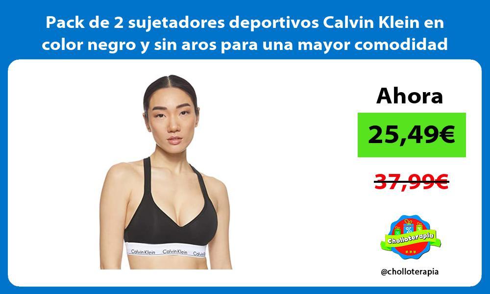 Pack de 2 sujetadores deportivos Calvin Klein en color negro y sin aros para una mayor comodidad