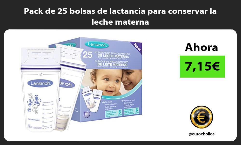 Pack de 25 bolsas de lactancia para conservar la leche materna