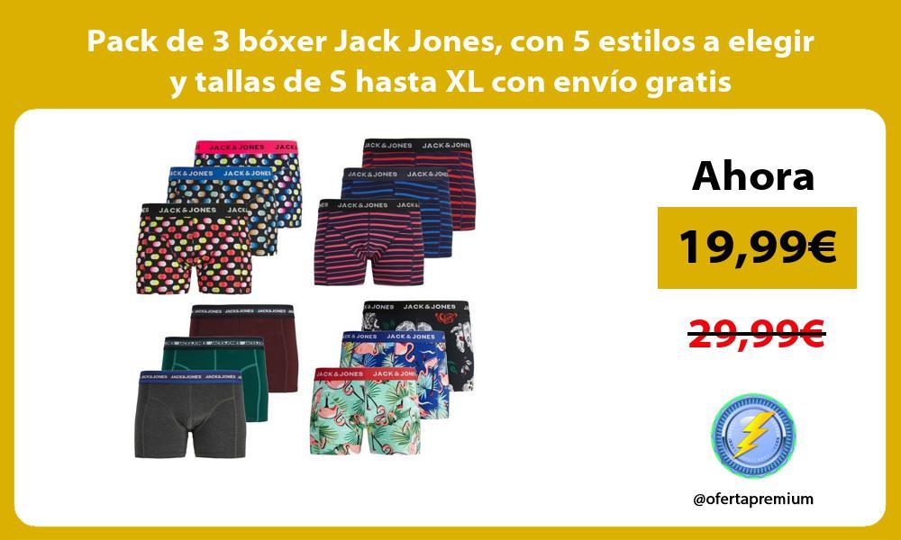 Pack de 3 bóxer Jack Jones con 5 estilos a elegir y tallas de S hasta XL con envío gratis