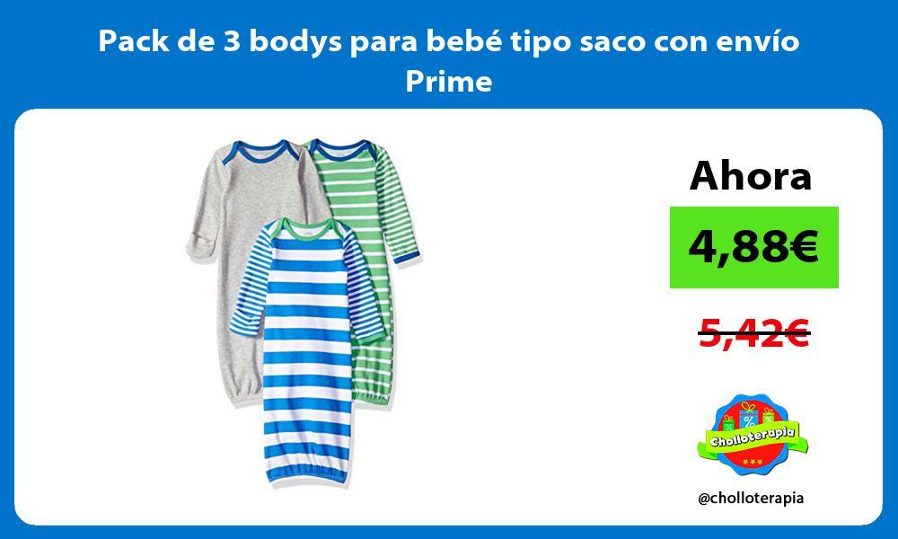 Pack de 3 bodys para bebé tipo saco con envío Prime