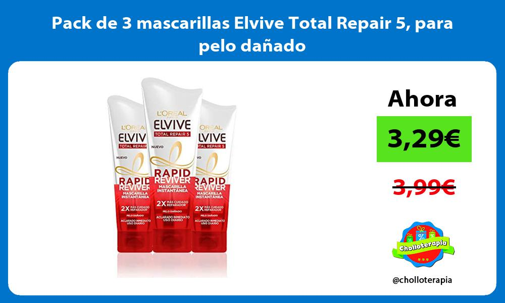 Pack de 3 mascarillas Elvive Total Repair 5 para pelo dañado