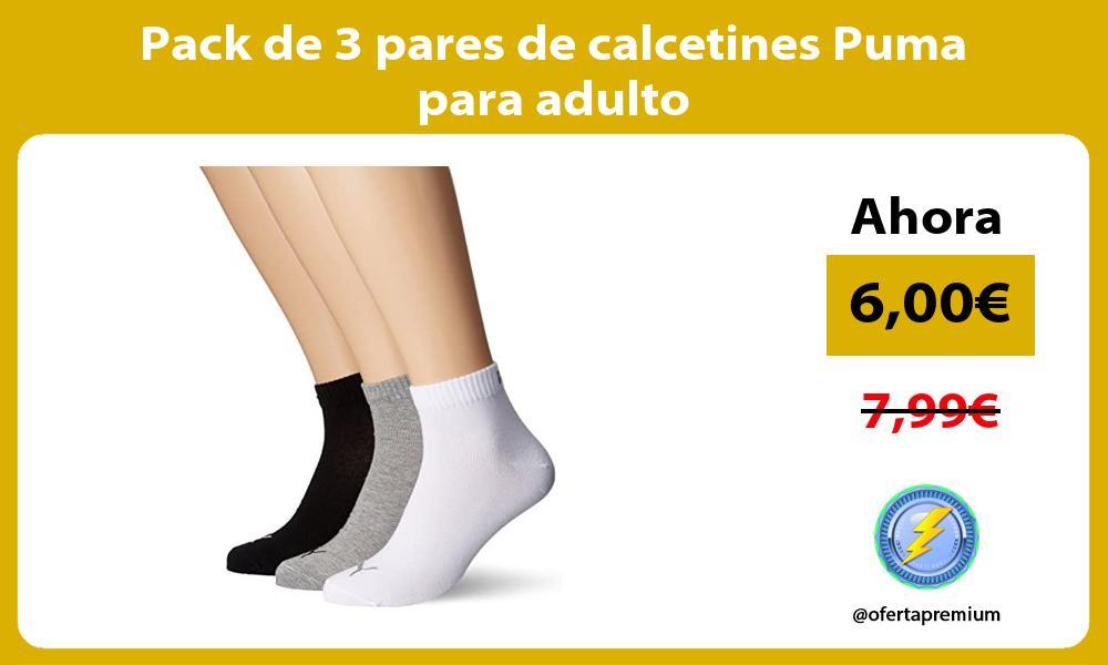 Pack de 3 pares de calcetines Puma para adulto