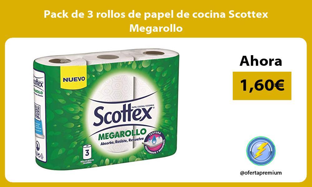Pack de 3 rollos de papel de cocina Scottex Megarollo