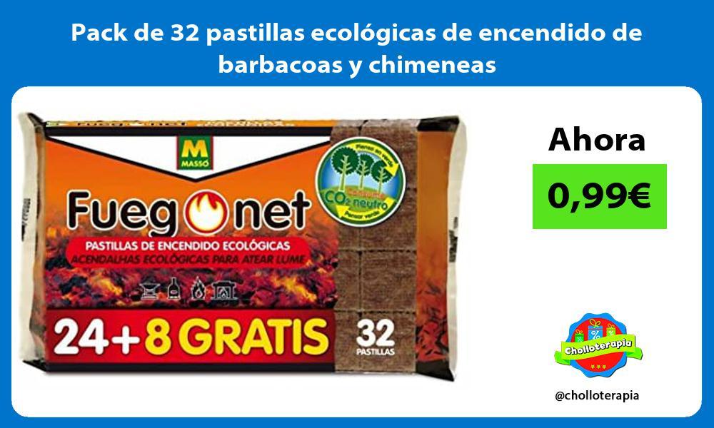 Pack de 32 pastillas ecológicas de encendido de barbacoas y chimeneas