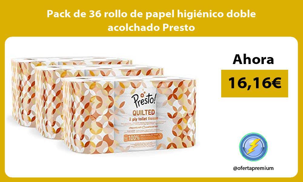 Pack de 36 rollo de papel higiénico doble acolchado Presto