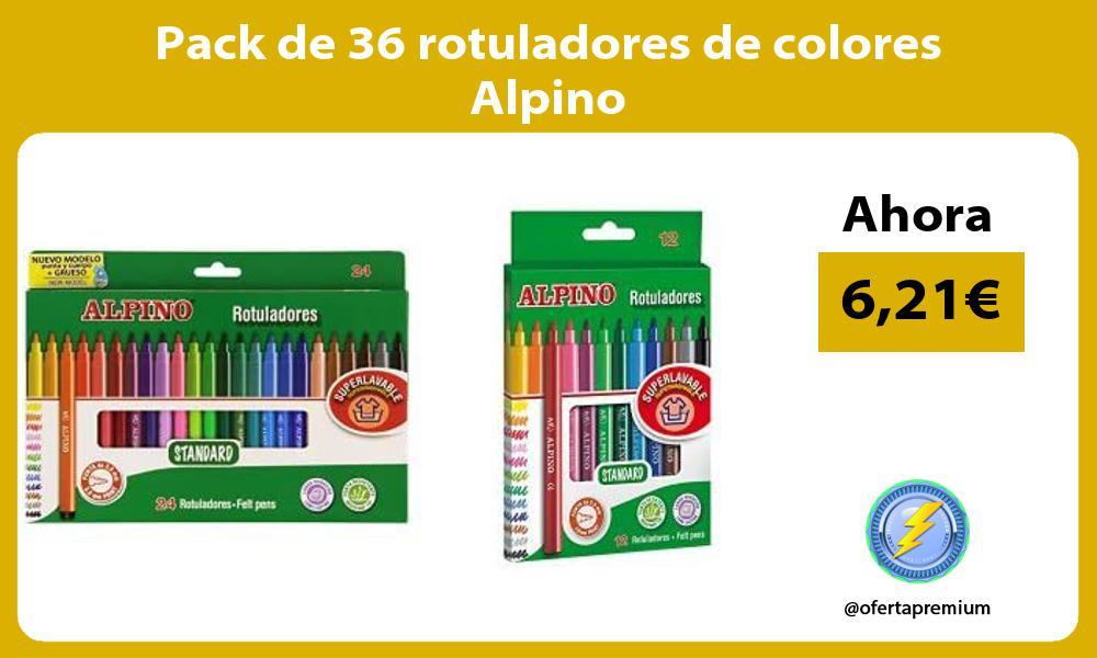 Pack de 36 rotuladores de colores Alpino