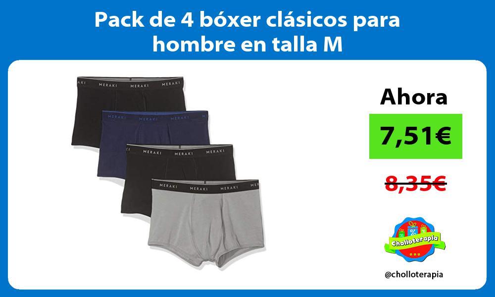 Pack de 4 bóxer clásicos para hombre en talla M