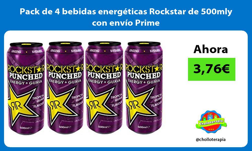 Pack de 4 bebidas energéticas Rockstar de 500mly con envío Prime
