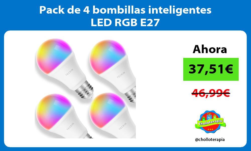 Pack de 4 bombillas inteligentes LED RGB E27