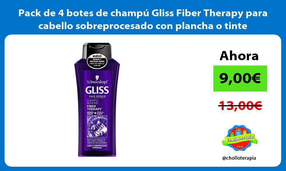 Pack de 4 botes de champú Gliss Fiber Therapy para cabello sobreprocesado con plancha o tinte