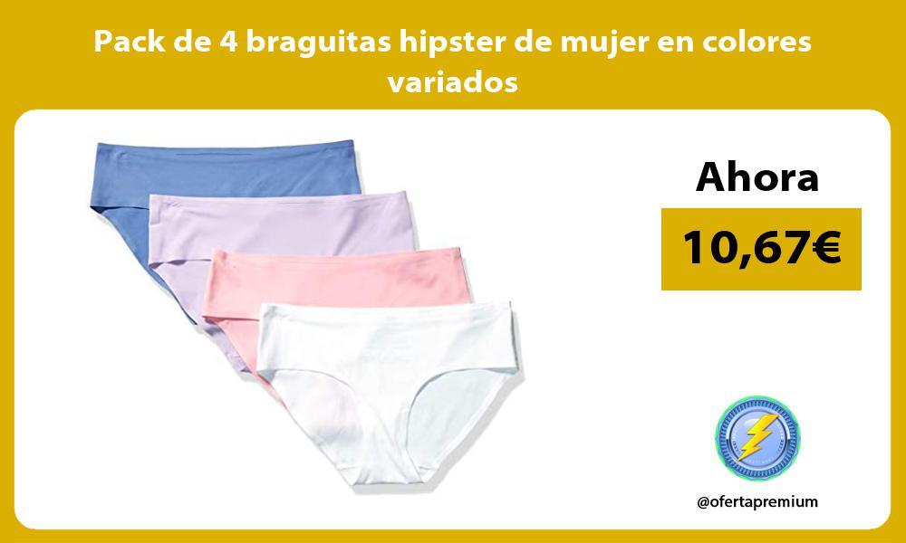 Pack de 4 braguitas hipster de mujer en colores variados