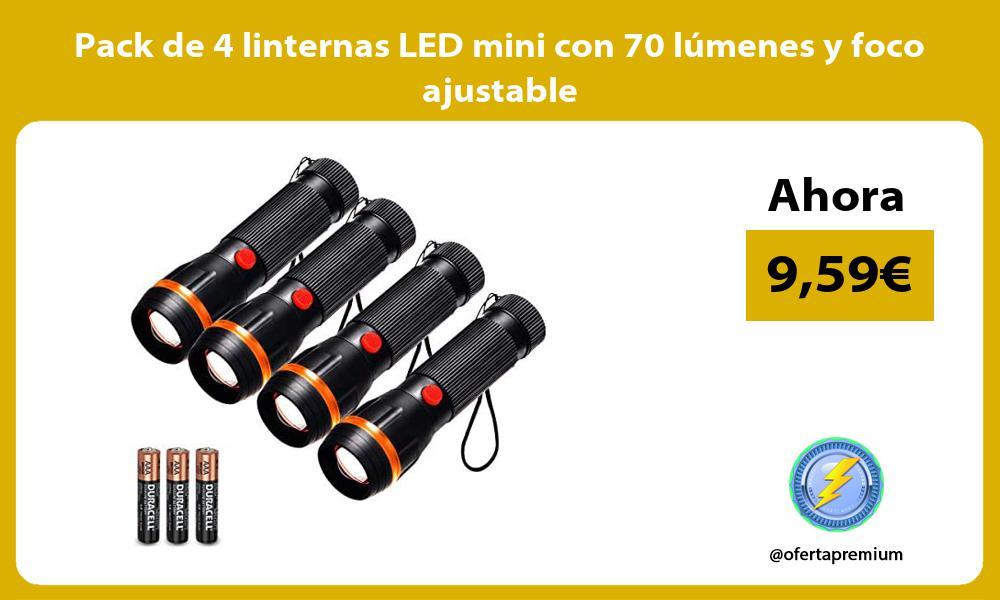 Pack de 4 linternas LED mini con 70 lúmenes y foco ajustable