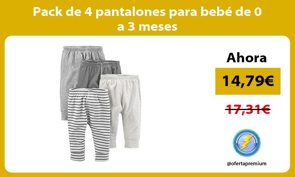 Pack de 4 pantalones para bebé de 0 a 3 meses
