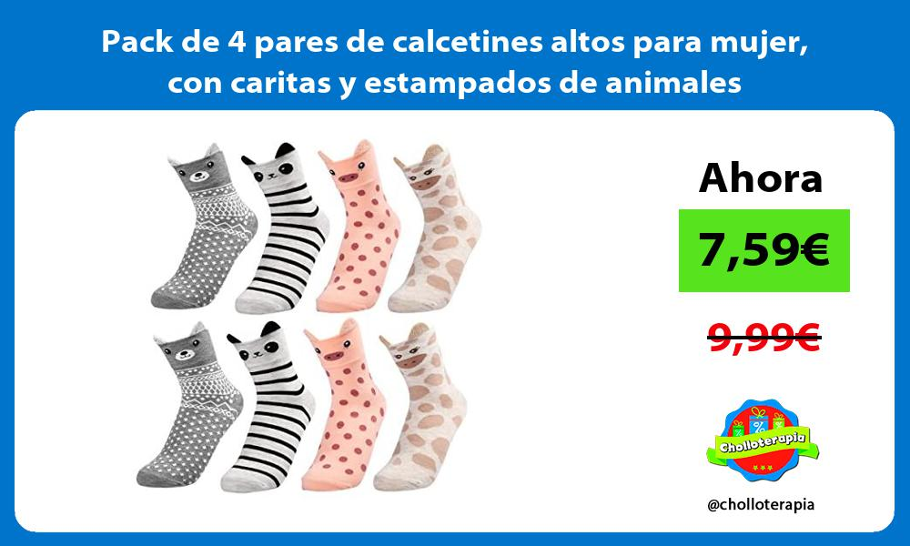 Pack de 4 pares de calcetines altos para mujer con caritas y estampados de animales