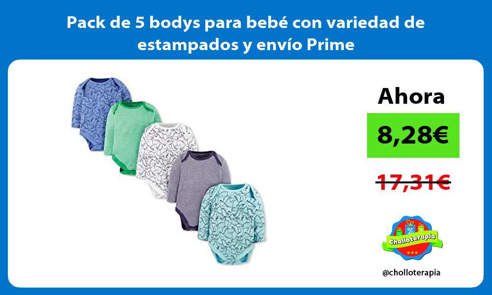 Pack de 5 bodys para bebé con variedad de estampados y envío Prime