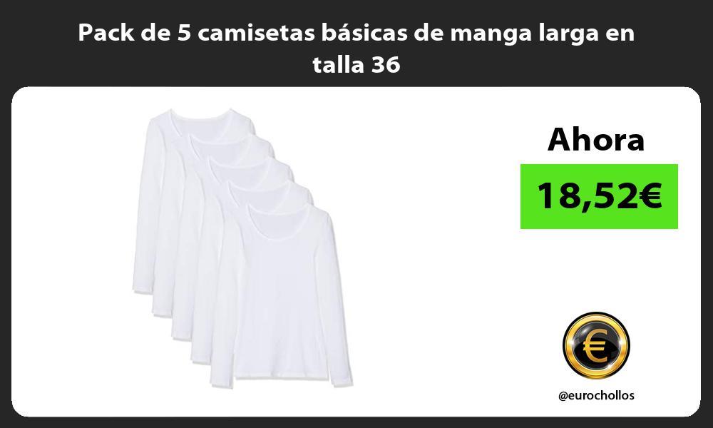 Pack de 5 camisetas básicas de manga larga en talla 36